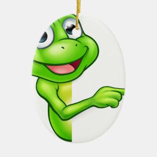Pointing Cartoon Frog Ceramic Oval Decoration