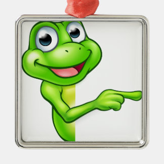 Pointing Cartoon Frog Silver-Colored Square Decoration