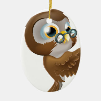 Pointing Cute Owl Ceramic Oval Decoration