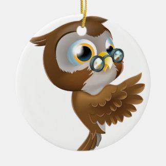 Pointing Cute Owl Round Ceramic Decoration