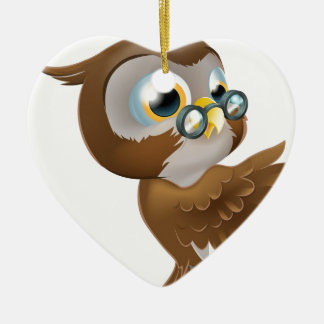 Pointing Cute Owl Ceramic Heart Decoration