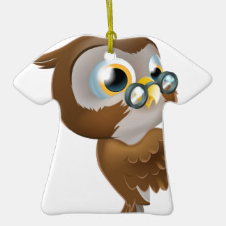 Pointing Cute Owl Christmas Ornament