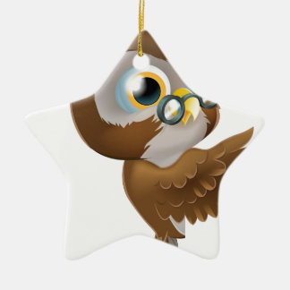 Pointing Cute Owl Ceramic Star Decoration