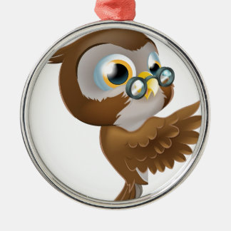 Pointing Cute Owl Silver-Colored Round Decoration