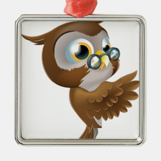 Pointing Cute Owl Silver-Colored Square Decoration