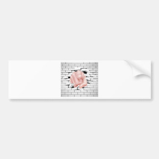 Pointing Hand Breaking White Brick Wall Bumper Sticker