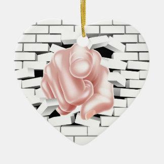 Pointing Hand Breaking White Brick Wall Ceramic Heart Decoration