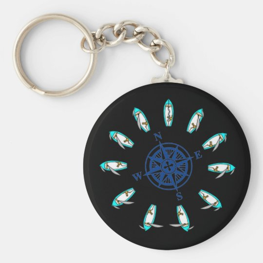 points of sail, compass_rose basic round button key ring