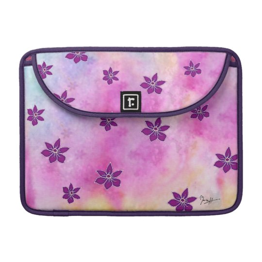 Pointy Dark Flowers on Colourful Watercolors Sleeve For MacBook Pro