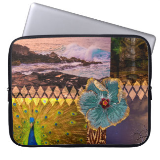 Poipu Sunrise, Kauai Hawaiian Collage Wetsuit Laptop Sleeve