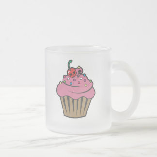 Poison Cherry Cupcake Frosted Glass Mug