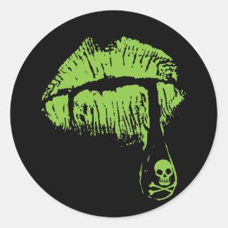 Poison Lips Classic Round Sticker