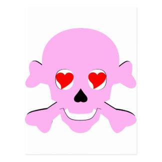 Poison Pink Valentine Skull & Crossbones Hearts Postcard