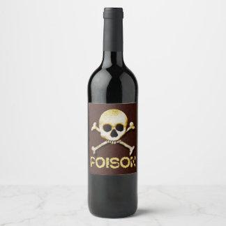 Poison Skull And Crossbones Design Wine Label