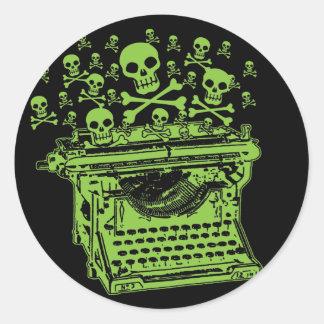 Poison Typewriter Classic Round Sticker
