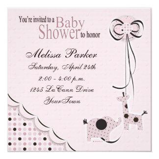 Poka Dots in Pink Baby Shower Invitiation 13 Cm X 13 Cm Square Invitation Card
