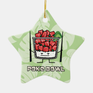 Poke bowl Hawaii raw fish salad chopsticks aku Christmas Ornament