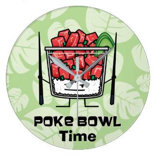 Poke bowl Hawaii raw fish salad chopsticks aku Large Clock