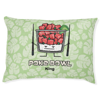 Poke bowl Hawaii raw fish salad chopsticks aku Pet Bed