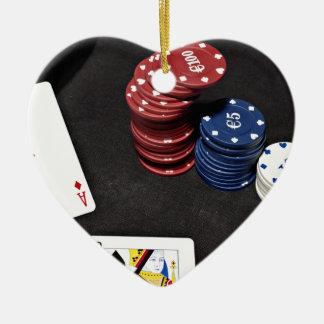 Poker ace bet good hand ceramic heart decoration
