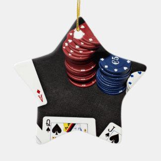 Poker ace bet good hand ceramic star decoration