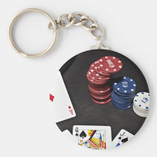 Poker ace bet good hand keychain