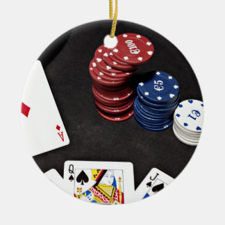 Poker ace bet good hand round ceramic decoration