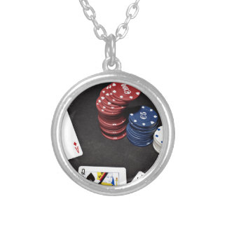 Poker ace bet good hand round pendant necklace