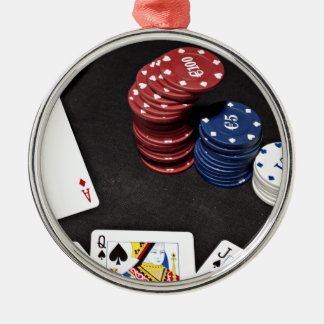 Poker ace bet good hand Silver-Colored round decoration