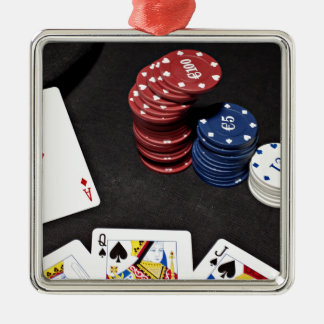 Poker ace bet good hand Silver-Colored square decoration