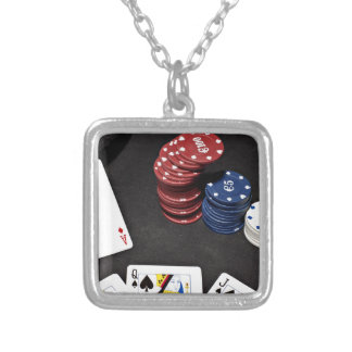 Poker ace bet good hand square pendant necklace