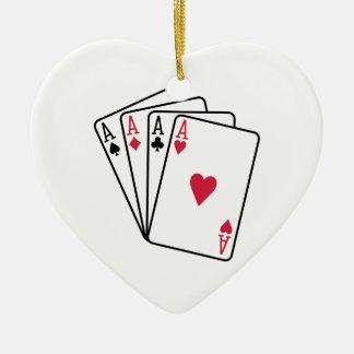 Poker aces gambling christmas ornament