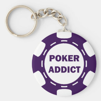 POKER ADDICT POKER CHIP BASIC ROUND BUTTON KEY RING