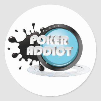 Poker addict round sticker