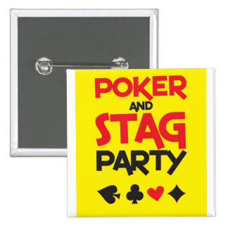 Poker and STAG party greeting card 15 Cm Square Badge
