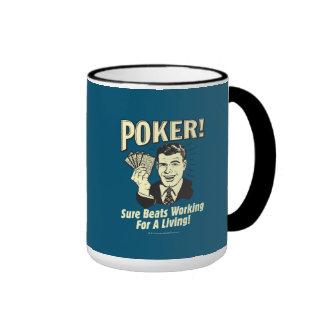 Poker: Beats Working for a Living Ringer Mug