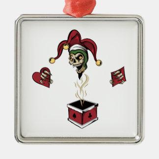 Poker Box Joker Zombie Skull Silver-Colored Square Ornament
