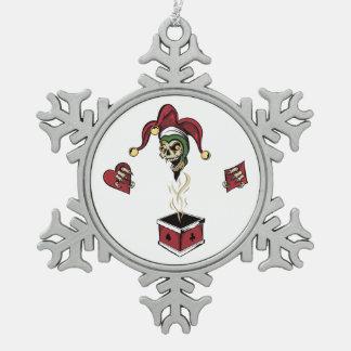 Poker Box Joker Zombie Skull Pewter Snowflake Ornament