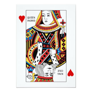 Poker Card Queen n King of Hearts Wedding 13 Cm X 18 Cm Invitation Card