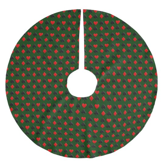 Poker Card Suits Pattern Brushed Polyester Tree Skirt