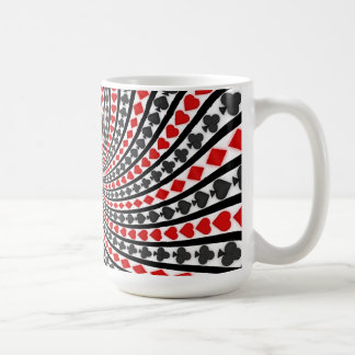 Poker Card Suits Spiral Coffee Mug Black Jack