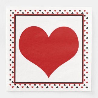 Poker Card Theme | Red Heart Disposable Napkin