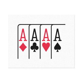 Poker cards aces stretched canvas prints
