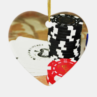 Poker Cards Aces Chips Gambling Casino Win Game Ceramic Heart Decoration