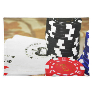 Poker Cards Aces Chips Gambling Casino Win Game Placemat