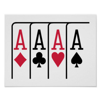 Poker cards aces print