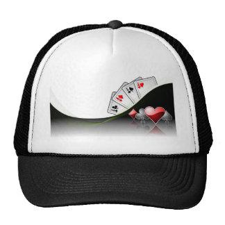 Poker cards and casino symbols cap