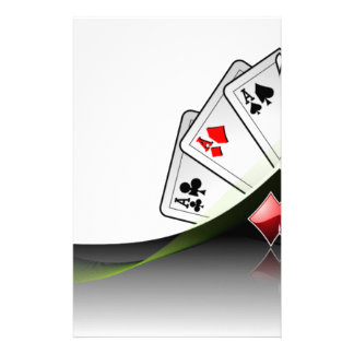 Poker cards and casino symbols personalized stationery