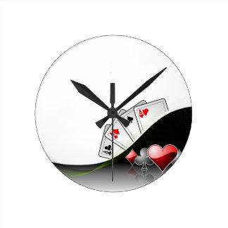 Poker cards and casino symbols wallclock