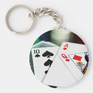 Poker Cards Basic Round Button Key Ring